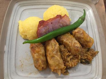 Sarmale, pork and Polenta