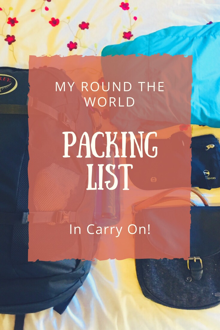 My round the world packing list, in carry on!