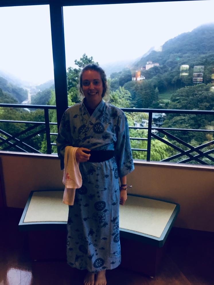 Wearing my kimono in the Onsen Hotel