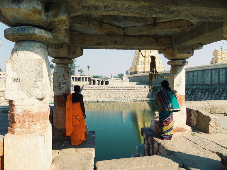 At the temple ruins of Hampi, India