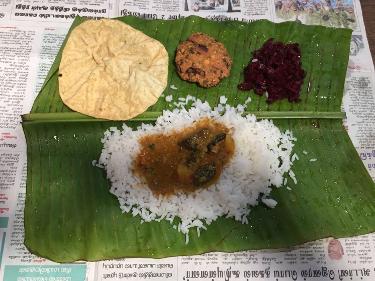 A traditional Tamil lunch - in a village in the Nilgiri Mountains near Ooty